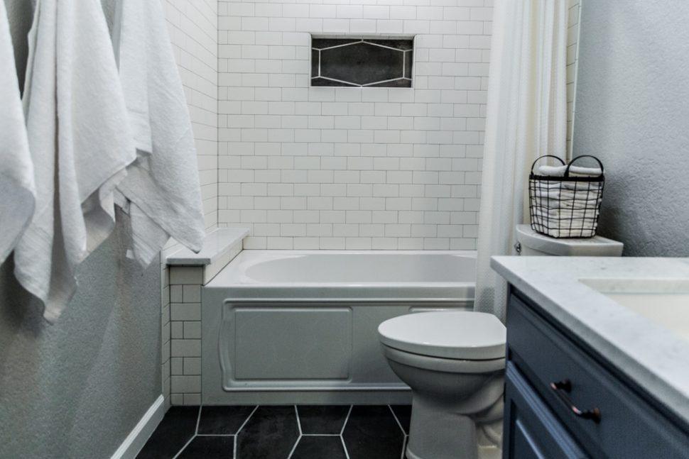 Little Chapel Bathroom With Hexagon Tile By Irwin